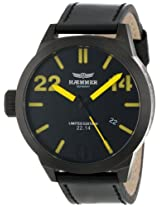 Haemmer Men's HQ-06 Helsinki Ion-Plated Gun Coated Stainless Steel Yellow Hands Limited Edition Watch