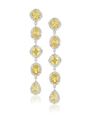Cubic Zirconia by Kenneth Jay Lane Multi-Shape Dangle Earrings, Yellow with Clear