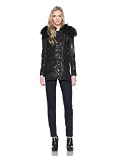 Nicholas K Women's Washed Leather Jacket with Sheep Fur (Black)