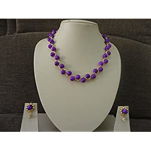 Mona Jewels Purple Beaded Spiral Necklace with Hanging Earrings