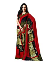 Red Color Georgette Printed Saree with Blouse 7046