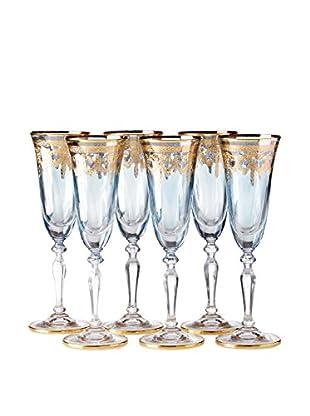 A Casa K Set of 6 Melodia 4.7-Oz. Engraved Crystal Flutes, Blue/Gold