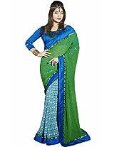 Pagli green with blue half-half georgette printed saree.