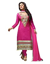 Sonal Trendz Pink Color Embroidery Semi-Stitched Suit.