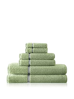 Luxury Home 6-Piece Luxury Egyptian Cotton Towel Set with Sheared Border, Green