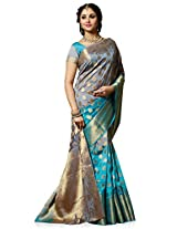 Meghdoot Artificial Tussar Silk Saree (SIYAA_MT1272_GREYxFIROZI Woven Grey and Turquoise Colour Sari)