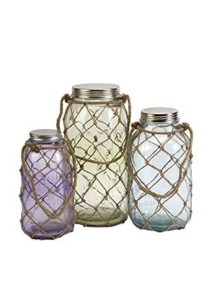 Set of 3 Marci Decorative Glass Jars