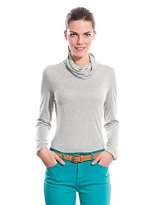 Cortefiel Camiseta Cuello Vuelto (Gris)