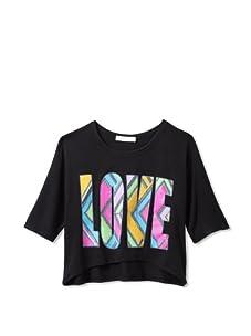 Pinc Premium Girl's High-Low Patchwork Love Top (Black)
