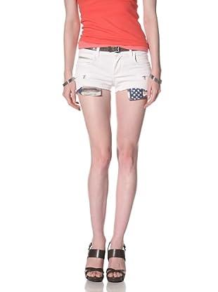 Rockstar Women's Twill Cutoff Shorts (White)