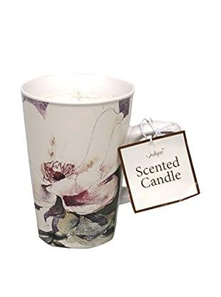 Jodhpuri 7.0-Oz. Gardenia Bone China Mug Candle, White/Green