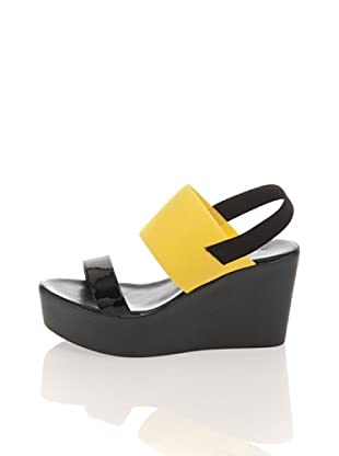 Pollini Keil-Sandalette (Schwarz/Gelb)