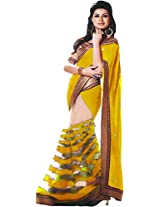 Parchayee Women's Georgette Saree (94074D, Yellow, Free Size)