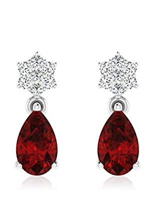 Diamant Vendome 0.07 Cts Diamond & 1.2 Cts Ruby Earring In 9Kt White Gold (Gh Color, Pk Clarity) T12500W/9/Ns/Ruby White Gold