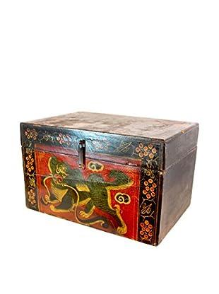 Asian Loft Shandong Dynasty Foo Dog Pine Box