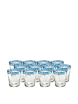 Artland Mingle Set of 12 Double Old Fashioned Glasses, Turquoise