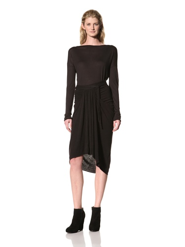 RICK OWENS Women's Knee Length Skirt with Front Gathered Panel (Black)