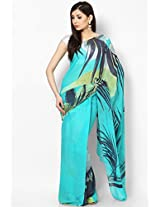 Georgette Aqua Blue Saree
