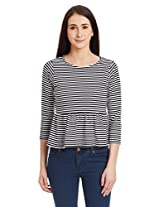 Miss Chase Women's Striped Casual Peplum Top