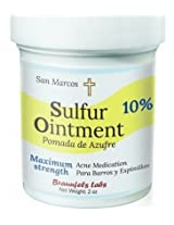10% Sulfur Ointment - Acne & Skin Care - Go All Natural ! No Peg (Zero Polyethylene Glycol)