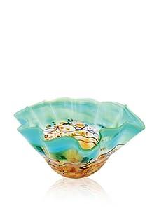 Viz Art Glass Dotted Sea Ruffle Bowl