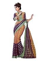 Beautiful Brown Purple Party Wear Classic Saree Work Cotton Sari