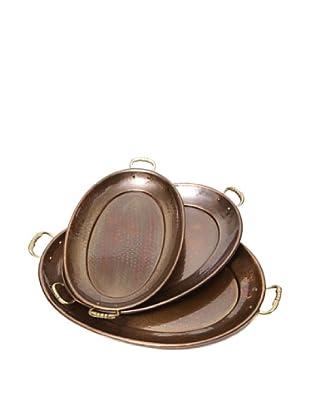 Old Dutch International Set of 3 Décor Antique Copper Oval Trays