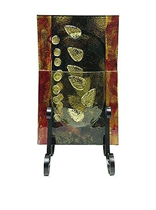 Jasmine Art Glass Rectangular Pocket Vase with Metal Stand, Maroon/Black/Gold Leaves