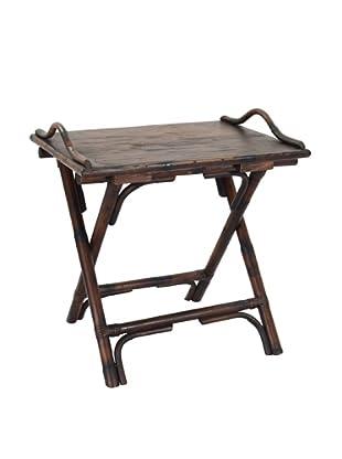 Jeffan Rattan Folding Side Table, Brown Antique