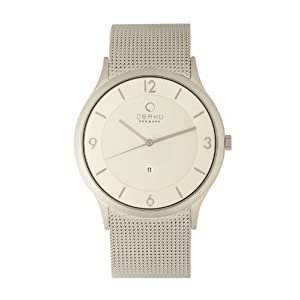 Obaku Men's V132XCIMC  Silver Dial Stainless Steel Date Watch