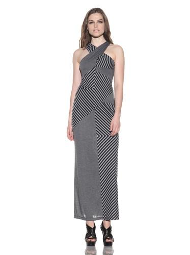 under.ligne by Doo.Ri Women's Striped Criss-Cross Dress (Grey/Black)