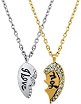 I Love You Broken Heart 24K Yellow Gold Crystal Alloy Locket