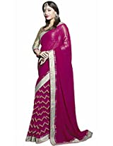 Pagli half-half printed georgette saree in pink colour.