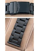 18-22mm Black PVD Metal Depolyant Diver Watch Band HR