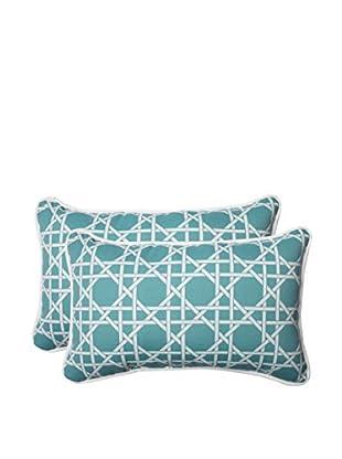 Pillow Perfect Set of 2 Indoor/Outdoor Kane Aqua Lumbar Pillows, Green