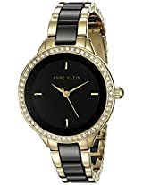 Anne Klein Women's AK/1418BKGB Swarovski Crystal-Accented Black Ceramic and Gold-Tone Bracelet Watch