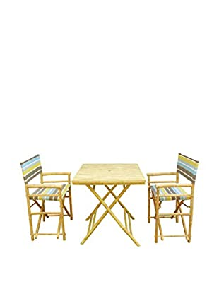ZEW, Inc. Square Table & Director Chair Set, Green Stripes