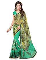 Sourbh Saree Graceful Lace Work Green Faux Georgette Best Sarees for Women Party Wear,Karwa Chauth Gifts for Wife, Women Clothing Collection
