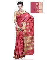 Meghdoot Women's Traditional Art Tussar Silk Saree Red Colour