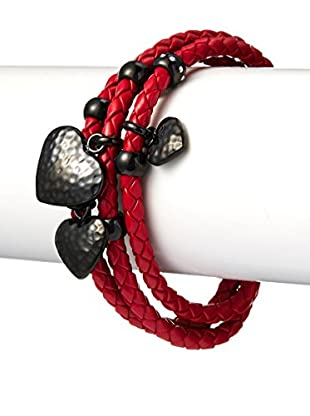Chloe by Liv Oliver Triple Strand Red Leather Bracelet With Heart Drops