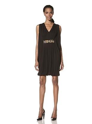 Nue by Shani Women's Goddess Dress with Embellished Waist (Black)