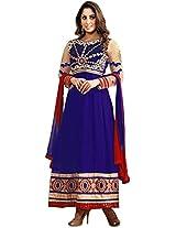 Ravishing Royal Blue Faux Georgette Semi Stitched Salwar Suit