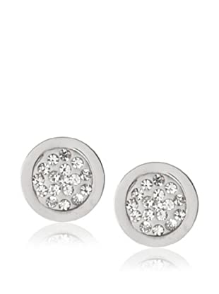 Chloe Collection By Liv Oliver Steel Round Crystal Disc Earrings