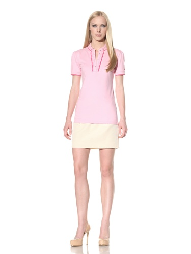D&G by Dolce & Gabbana Women's Ruffle Placket Polo (Pink)