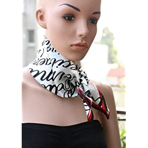 Insyync Red and Black Silk Neck Scarf