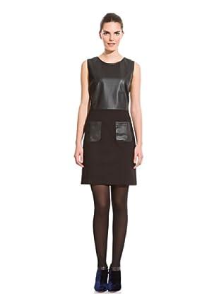 Cortefiel Vestido Bolsillos Cuero (Negro)