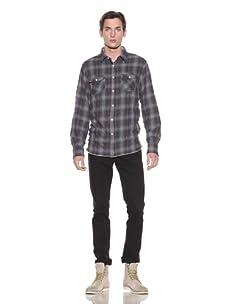 Shirt By Shirt Men's Stefan Plaid Button-Up Shirt (Navy/Red/Taupe)