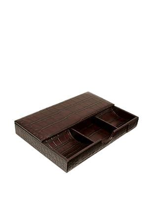 Trafalgar Crocodile-Embossed Desk Set (Dark Brown)