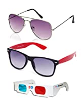 Combo of Aviator Sunglasses + Wayfarer Sunglasses + 3D GLASSES - SUN4066