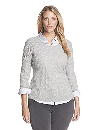 Kier & J Plus Women's Cashmere Crew Neck Cable Sweater (Inox)